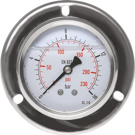 Glycerin-Einbaumanometer,Front-ring, 63mm, -1 bis 0,6 bar (MSE -10663 GLY CRE)